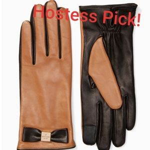 Kate Spade Touchscreen Leather Gloves, Brown